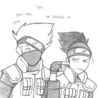 Naruto - Kakashi Pokes Iruka by EvanescentRose116