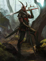 Posing in the Forest with some swords WiP by Fetsch