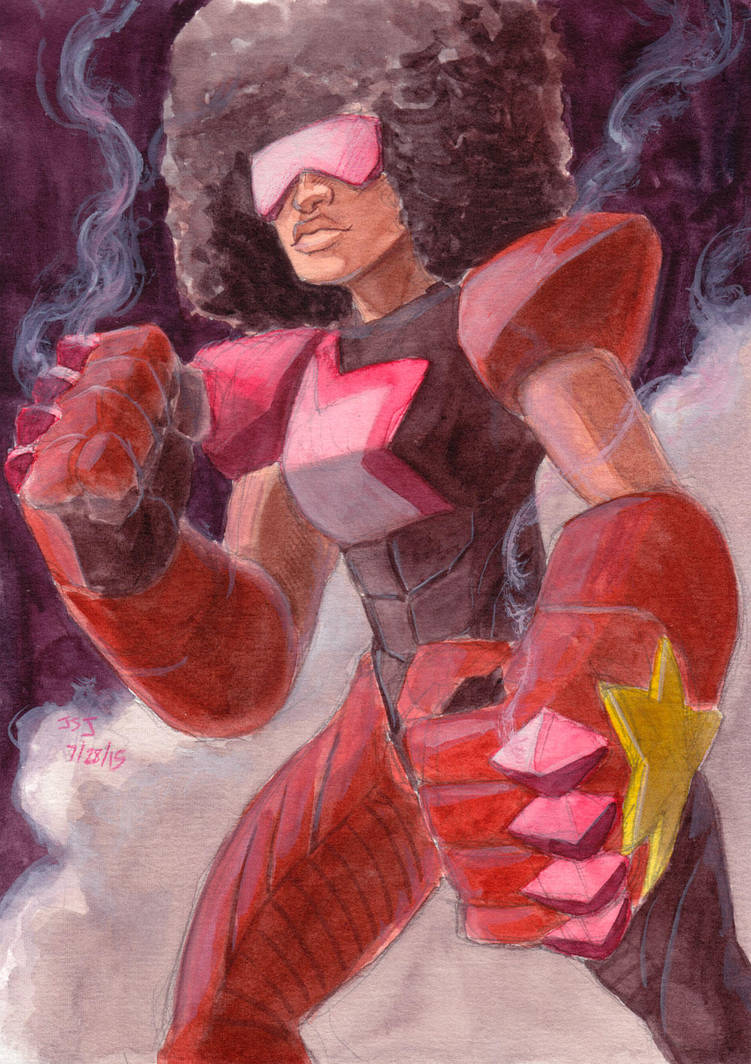 Garnet from Steven Universe! Watercolor and gouache on Stillman and Birn beta paper.