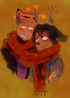 Autumn Boyfriends: Sharing the scarf by CraftyPoptropican