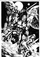 Nova, Gamora, Rocket, Iron Man and Angela by Leomatos2014