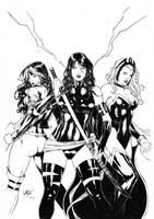 Psylocke, Storm and Rogue by Leomatos2014