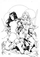 Dejah Thoris and Red Sonja by Leomatos2014
