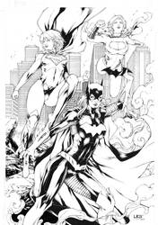 Batgirl Supergirl and Powergirl by Leomatos2014