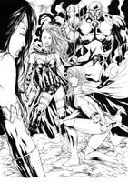 Supergirl Grail Darkseid and Wonder Woman by Leomatos2014