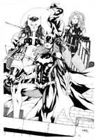 Batgirl Huntress and black canary by Leomatos2014