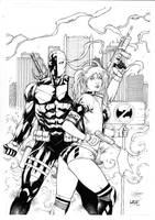 Deathstroke and Harley Quinn by Leomatos2014