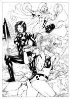 Harley Quinn katanna and Enchantress by Leomatos2014