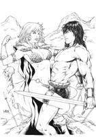 Red Sonja and Conan by Leomatos2014