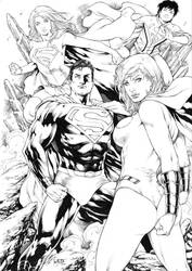 Superman Power Girl Supergirl and Superboy by Leomatos2014