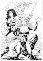 Mera Wonder Woman and Supergirl by Leomatos2014