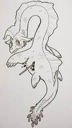 Inktober Day 6: Sea Monster by minibritti