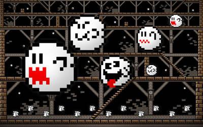 Super Mario Ghosts Wallpaper by luismonteiro