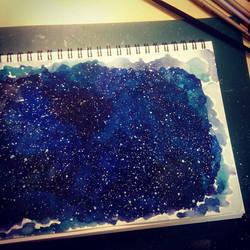 NightSky - watercolor by eyeball1126