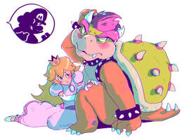 Peach and Bowser by MEEKIS