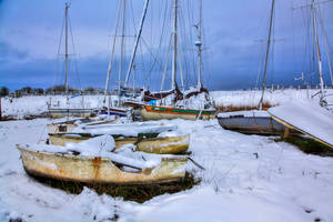 Uphill boat yard snowy HDR by Vitaloverdose