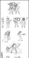 chibi fan art sketch dump WIP by CoralSnake
