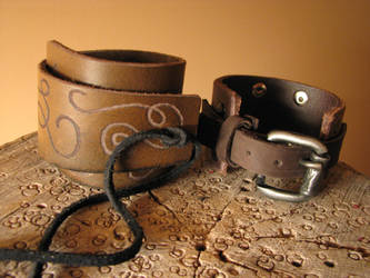Brown Leather Bracelets by ErurainaCrafts