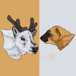 reindeer + weasel by hopeowl