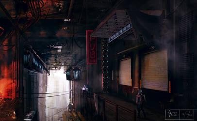Cyberpunk landscape by Kawassass00