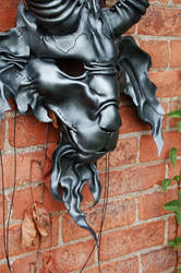 Leather Baphomet mask in antique silver by MidnightZodiac