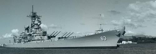 USS MISSOURI BB 63 with USS ARIZONA MEMORIAL by StephenBarlow