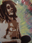 Bob Marley Laughing playing Ping Pong stencil art by TheStreetCanvas