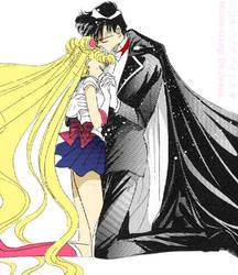 Sailor Moon and Tuxedo Mask by MoonPrincessNikoru