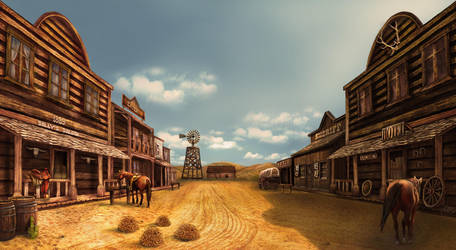 western town in the afternoon by crayonmaniac