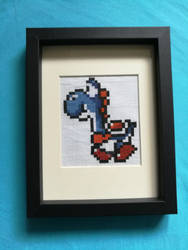 Blue Yoshi Cross Stitch by BlueStarbie-Arts