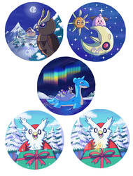[FOR SALE] Christmas/Winter Badge designs by BlueStarbie-Arts