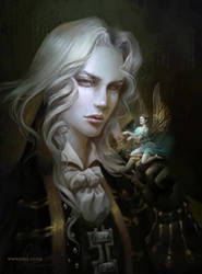 Alucard. Castlevania Symphony of the Night artwork by nell-fallcard