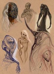 Sketchy Creatures by AlexRuizArt