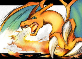 Pokemon | CHARIZARD used Flamethrower! by OroNoDa