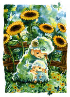 Sheep and Sunflowers (No. 1) by Diaris