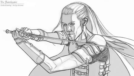 The Swordmaster - Underdrawing by Aliciane