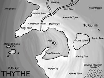 Map of Thythe - Crystal Guardians by Dauson