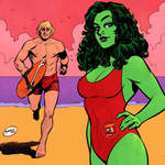 She-Hulk and He-Man Baywatch by GlebTheZombie