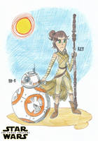 Rey and BB-8 - Star Wars: The Force Awakens by FTFTheAdvanceToonist