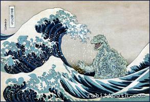 Godzilla Off Kanagawa (  Hokusai / Godzilla ) by Rabittooth