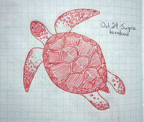 Inktober The Red Turtle by banndsand