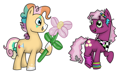Bonkers Blowhorn and Cheerilee (Art Trade) by PhilosophyPony