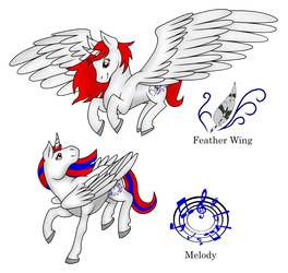 Feather Wing and Melody (Art Trade) by PhilosophyPony