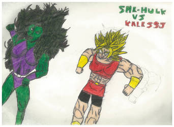 She-hulk Vs Kale Ssj by thorman