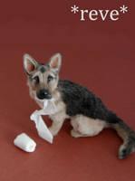 Miniature German Shepherd Dog Sculpture by ReveMiniatures