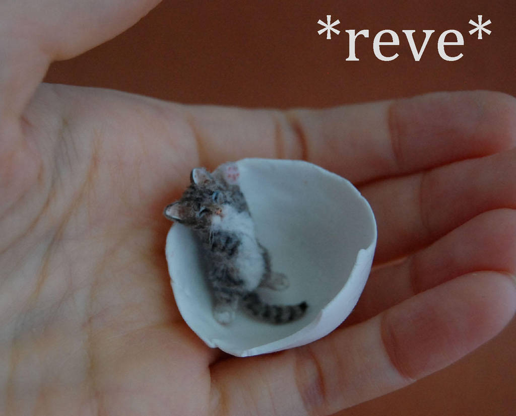 Handmade Miniature Kitten Sleeping Sculpture by ReveMiniatures
