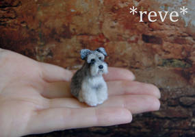 OOAK Handmade Miniature Schnauzer Dog Sculpture by ReveMiniatures