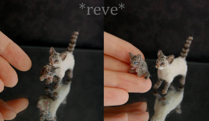 Cat carrying Kitten Handmade Sculpture by ReveMiniatures