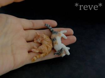 Miniature Cats Sleeping * Handmade Sculpture * by ReveMiniatures