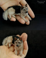 Miniature German Shepherd Dog * Handmade Sculpture by ReveMiniatures